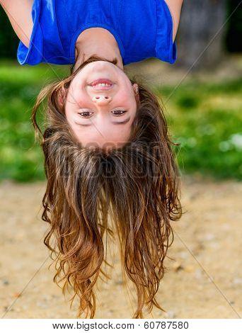 Beautiful Child Hanging Upside