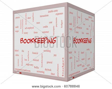 Bookkeeping Word Cloud Concept On A 3D Cube Whiteboard
