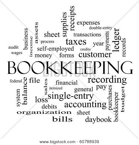 Bookkeeping Word Cloud Concept In Black And White