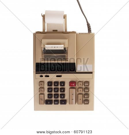 Old calculator for doing office related work isolated in white poster