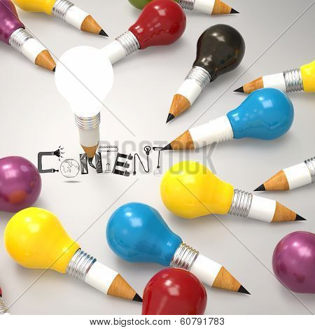 Design Word Content And Pencil Lightbulb 3D As Concept