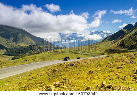 Road With Cars In The Mountains,  Mountain Landscape