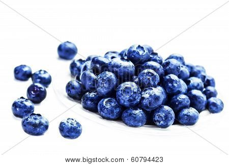 Fresh Blueberries In A  White Bowl  Isolated On White Background Close Up.