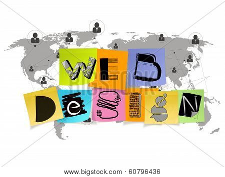 Hand Drawn Web Design On Sticky Note And World Map With Human Icon Background As Concept