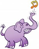Purple elephant clenching its teeth and making a big effort to blow a musical note with its powerful trunk poster