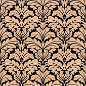 Seamless background vector pattern of floral arabesque motifs arranged in a design of beige on brown suitable for wallpaper or damask style textiles poster
