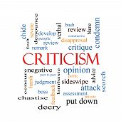 Criticism Word Cloud Concept with great terms such as opinion blame critique and more. poster