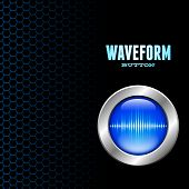 Silver button with blue sound wave sign on hex grid poster