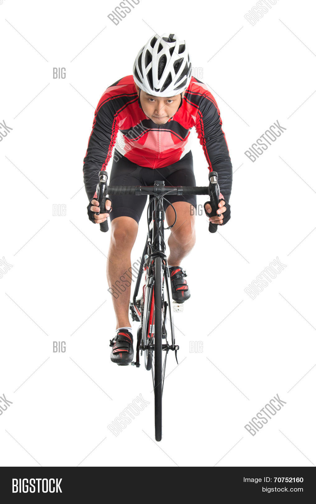 Asian male biker riding road bike, front view isolated on white background.