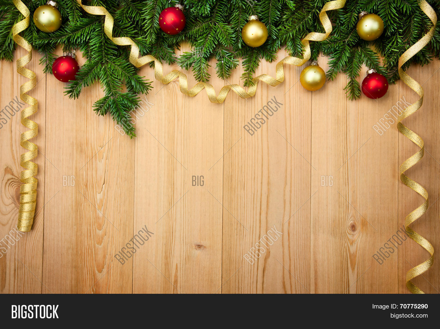 christmas background with fresh firtree baubles and ribbons on wood horizontal - How To Decorate A Christmas Tree With Ribbon Horizontally
