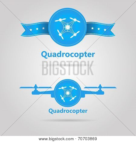 Two blue vector signs of quadrocopter top view