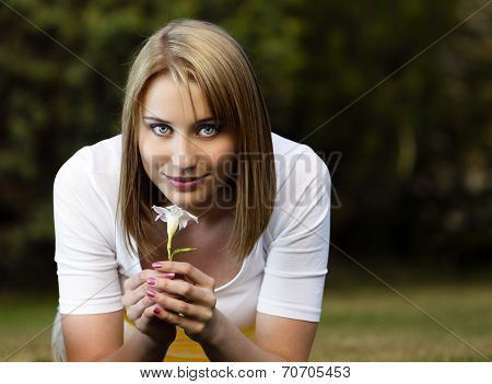Young Woman With White Flower