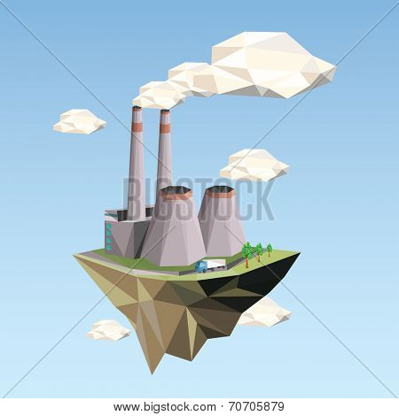 Ecology Concept Vector Illustration in polygon style. Power Plant.