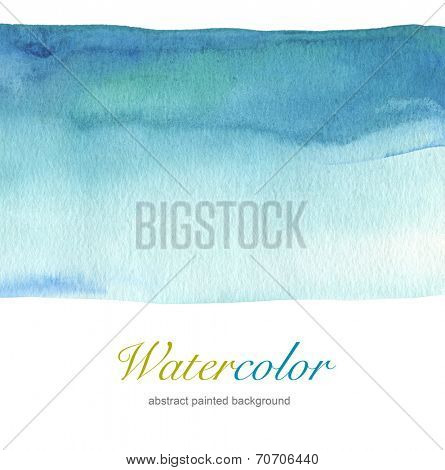 Abstract blue watercolor hand painted background. Textured paper.