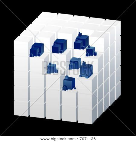 White Cube with blue Parts