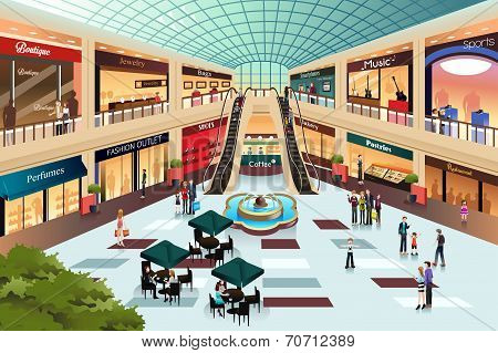 Scene Inside Shopping Mall