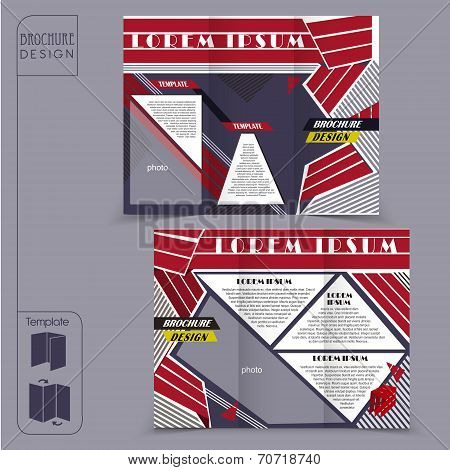 modern tri-fold template for business advertising concept brochure with geometric elements poster