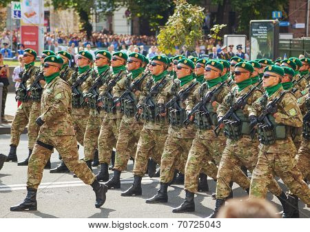 Border Guard Troopers Of The Ukrainian Army In Kyiv, Ukraine