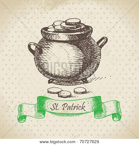St. Patrick's Day vintage background. Hand drawn illustration
