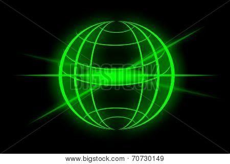 green globe with black light on a black screen poster