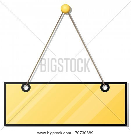 Hanging blank yellow doorplate isolated on white background.