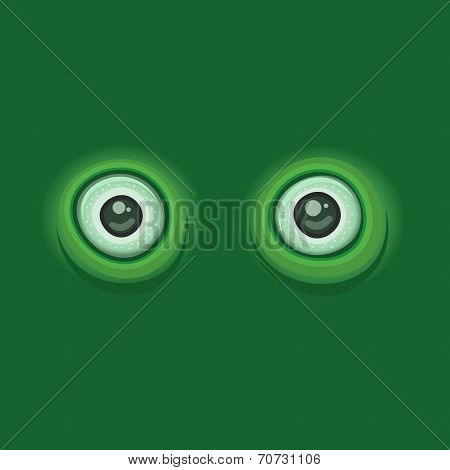 Green Background with Cartoon Eyes. Vector