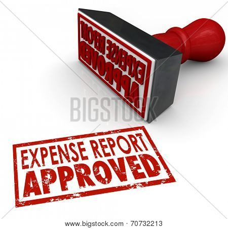 Expense Report Approved words in a red stamp approving your costs and receipts for reimbursement