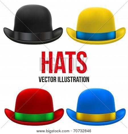 Set of colorful bowler hats. Vector Illustration.