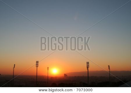 Sunset Over Barcelona Soccer Stadium