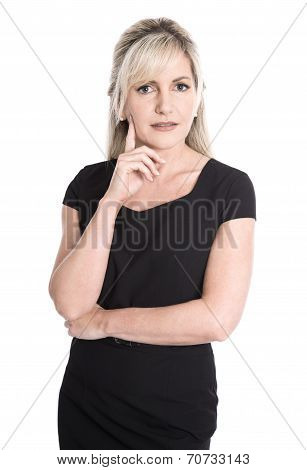Pensive And Questioningly Isolated Businesswoman In Portrait.