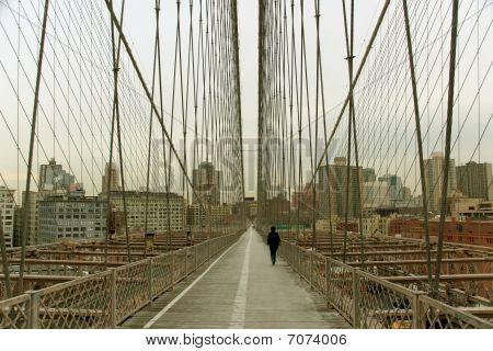 Walk Way On Brooklyn Bridge