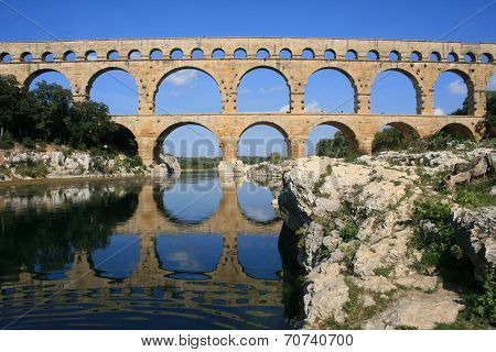Ancient aquaduct Pont du Gard in South France