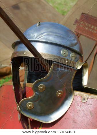 Roman Legionars helmet in detail. Outsoor shot. poster