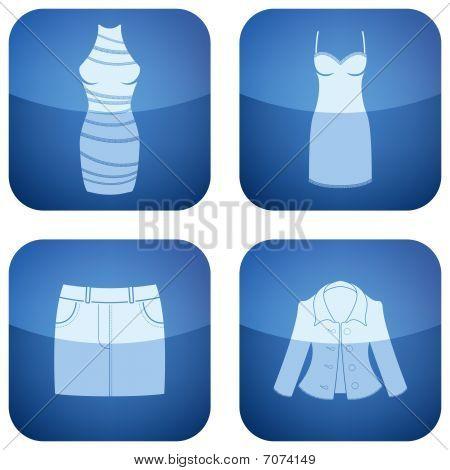 Cobalt Square 2D Icons Set: Woman's Clothing