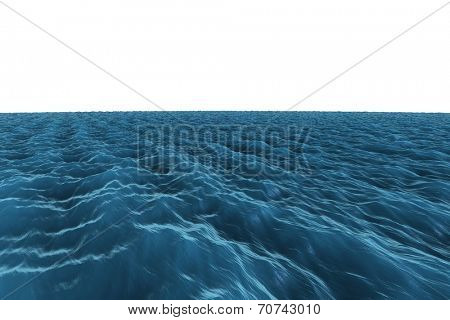 Digitally generated graphic Rough blue ocean on white background poster