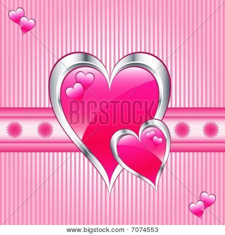 Pink hearts, valentine or mothers day