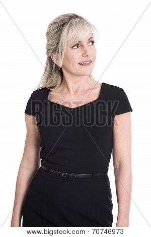 Portrait Of Satisfied Isolated Mature Business Woman.