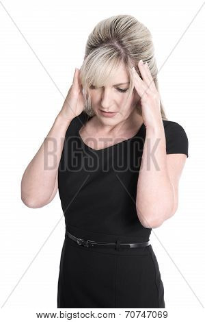 Isolated Mature Woman In Black Dress Has Headache.