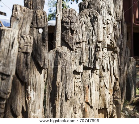 Waga - Carved Wooden Grave Markers Arfaide (near Karat Konso). Ethiopia.