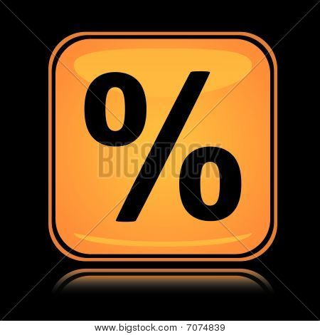 Yellow square sign percent mark with reflection