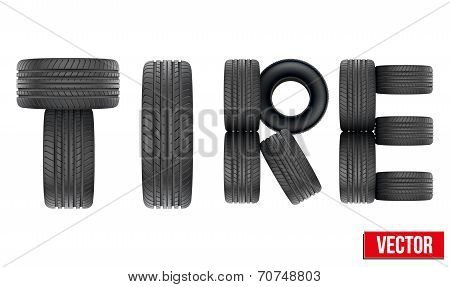 Title of Realistic rubber tires. Vector Illustration