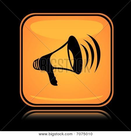 Yellow square icon loud megaphone with reflection