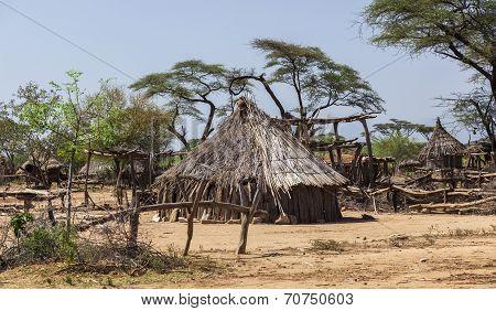 Traditional Tsemay Houses. Small Village In Tsemay Territory Near Weita. Omo Valley. Ethiopia.