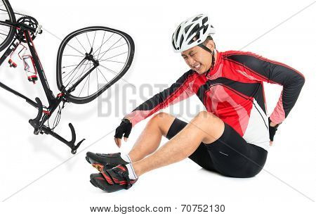 Asian biker fell down from bike, injured at back with painful facial expression, sitting on floor, isolated on white background. poster