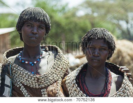 Traditionally Dressed Women From Tsemay Tribe. Weita. Omo Valley. Ethiopia.