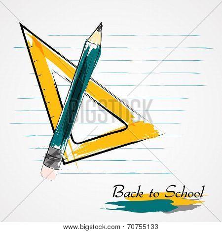 Setsquare ruler and pencil