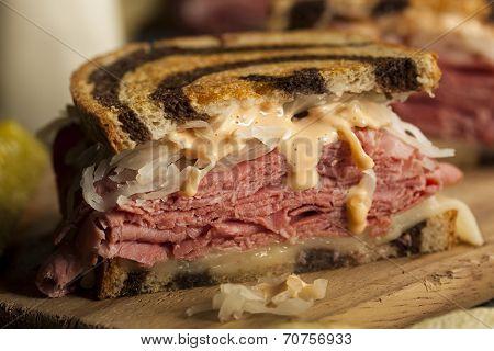 Homemade Reuben Sandwich with Corned Beef and Sauerkraut poster