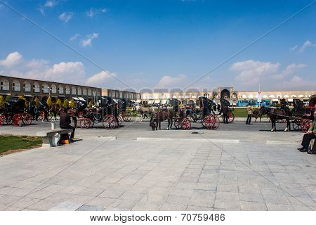 Horse carts at Imam square
