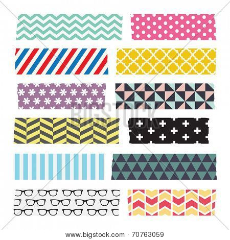Set of colourful patterned washi tape strips poster