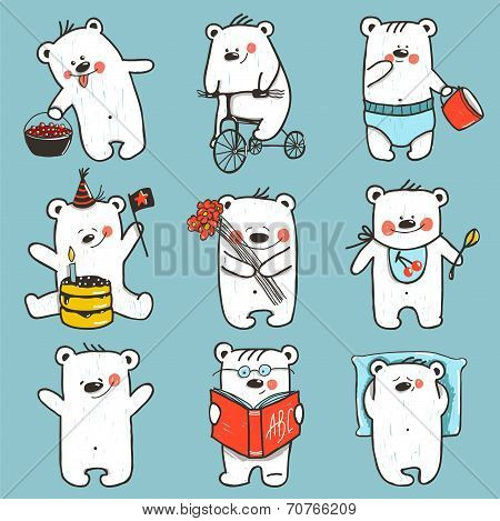 Cartoon Baby Bears in Action Collection